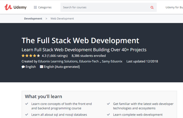 Which is the best site to learn full stack web development