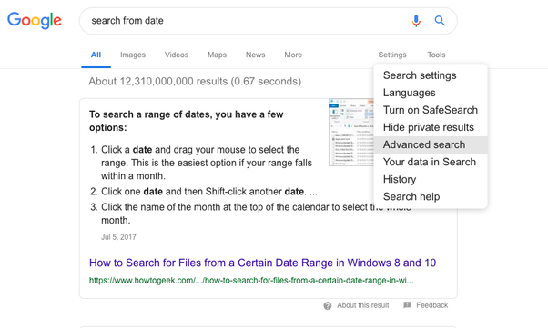 Is it possible that Google just shows results from a certain