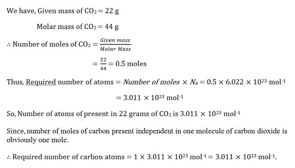 How many carbon atoms are present in 22g of CO2? - Quora