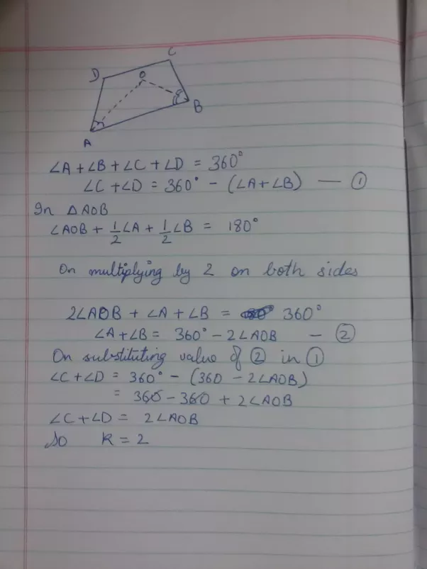 If The Bisectors Of Two Adjacent Angles A And B Of A