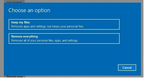 Can we reset the windows 10 without losing data from D and E