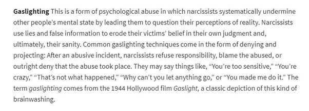 What are the meanings of terms such as gaslighting, word