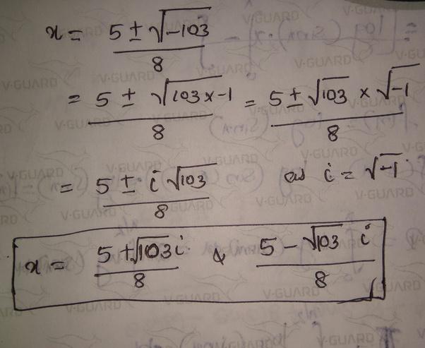 Using The Quadratic Formula To Solve 4x2 – 3x + 9 = 2x + 1