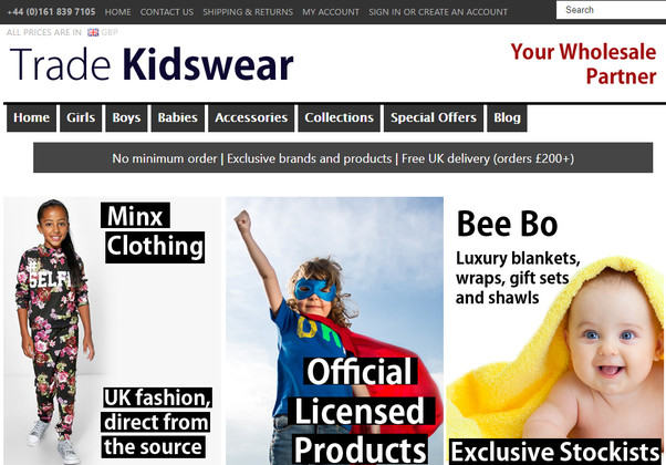 9e26fa9e Trade Kids Wear is one of the largest wholesale child clothing UK store,  which has been in the market since 1964. They provide children's apparel  from ...