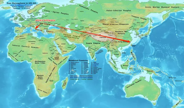 Map Of Europe And China.Why Did The Huns Led By Attila Invade Europe And Not China Quora