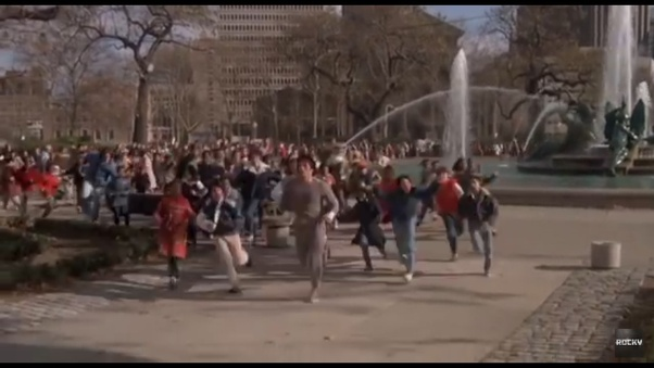 Is the scene where Rocky Balboa runs up the steps with