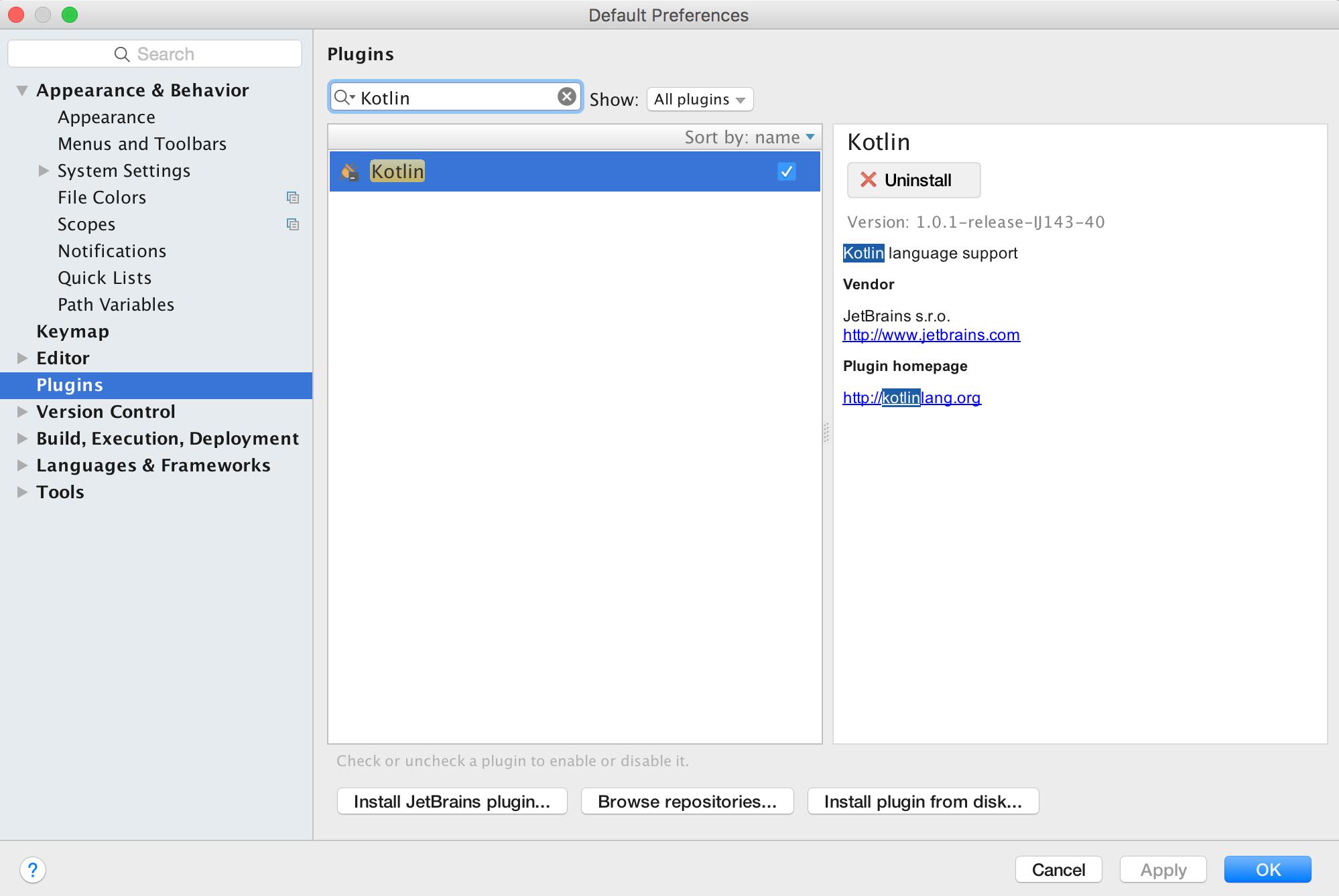 android studio kotlin plugin