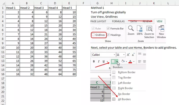 How To Delete The Gridlines Of Cells Outside My Table In Excel Quora
