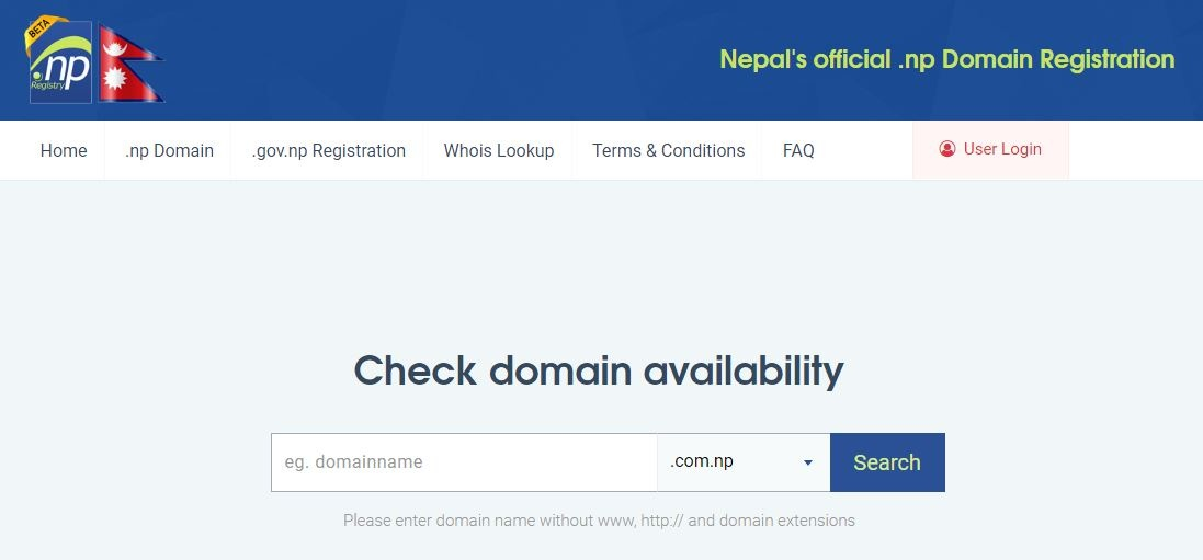 register .np domain name