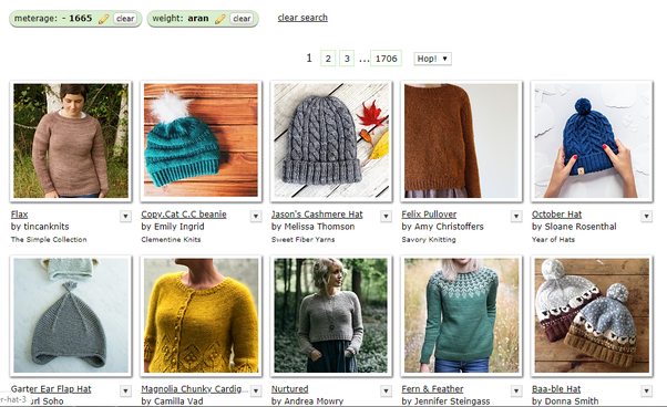 Screenshot from Ravelry pattern  search, limited by metres and yarn weight. The first 10 patterns of approximately 43,000 for this search are shown.