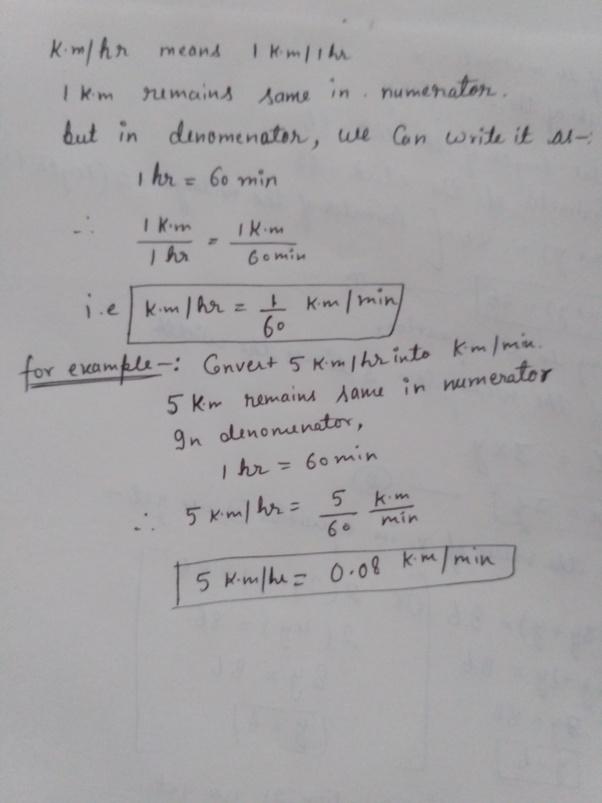 How To Convert Km Hr To Km Min Quora