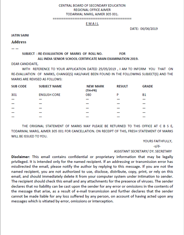 How to get my new mark sheet after cbse revaluation - Quora