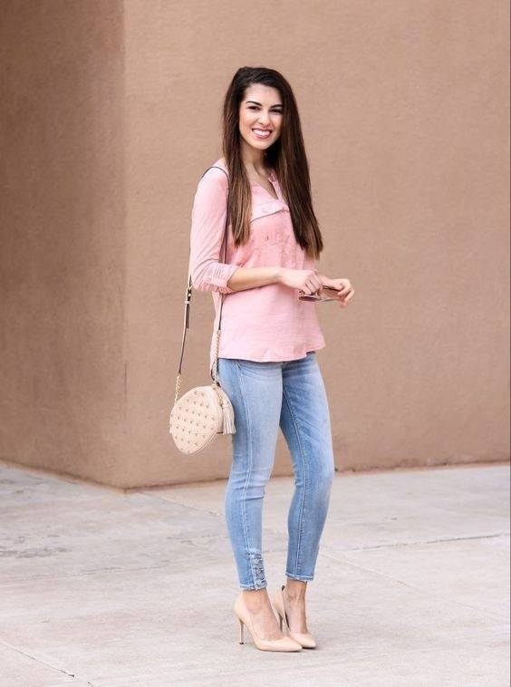 What color pants go with a peach colored top? - Quora