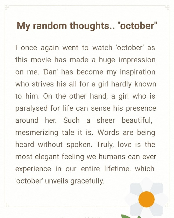 Movie Review: What Is Your Review Of October (2018 Movie)?   Quora