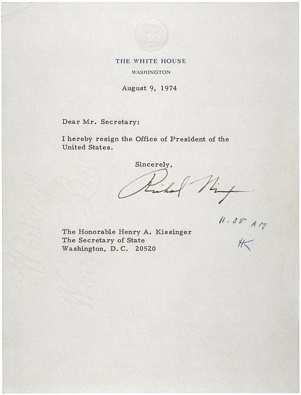 Who accepts the resignation of a president quora and thats why this letter was delivered to secretary of state henry kissinger by president richard nixon on august 9 1974 at 1135 am expocarfo Gallery