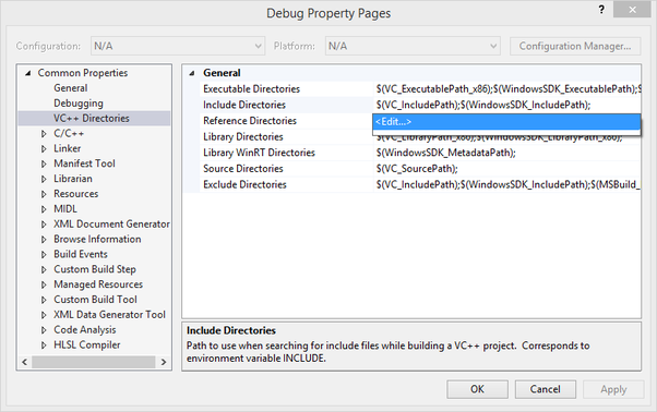How to include header files in visual C++ to a given source