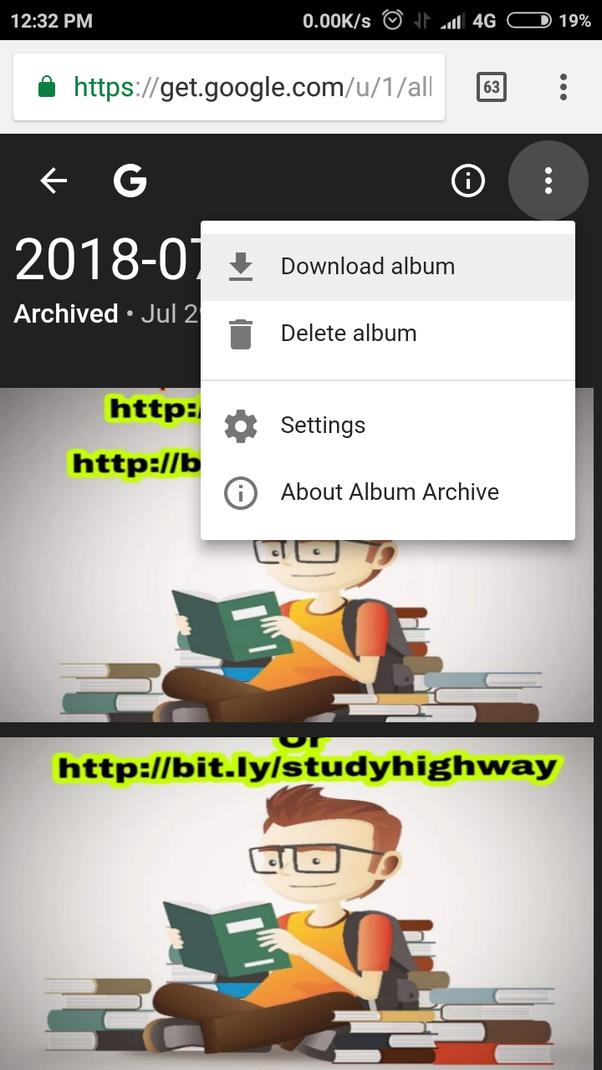 google photos download album