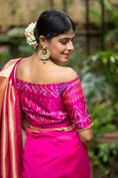 2ebf42005fe26a Off shoulder and cold shoulder blouse with silk saree: The fashion world is  going crazy over off shoulders and now it has touched the saree look too!
