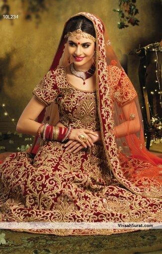 Indian bridal dresses in red color