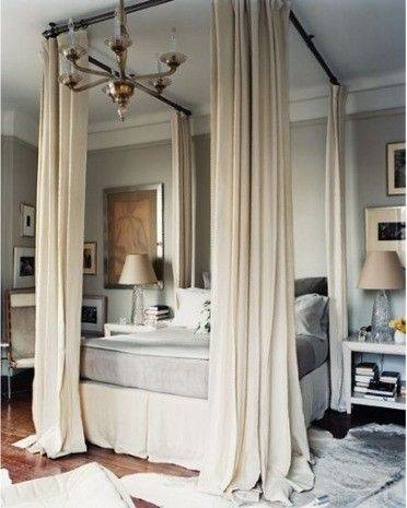 You can also consider giving up a bed entirely for a daybed. Doesn\u0027t this one-room apartment look just like a beautiful living room? : canopy-bed-studio-apartment - designwebi.com