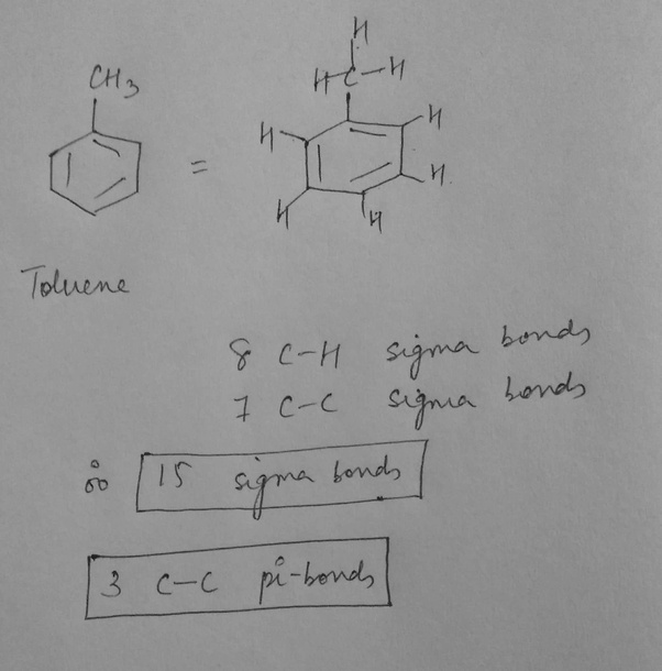 How many pi and sigma bonds are there in toluene? - Quora