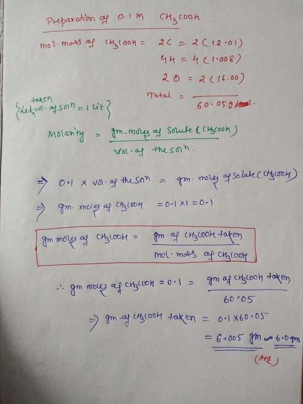 How To Prepare 0 1m Acetic Acid