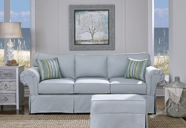 The First Photo Below Shows A Very Traditional Sofa With Slipcover. The  Photo Below That Shows The Same Sofa With A More Modern Look Without The  Slipcover.