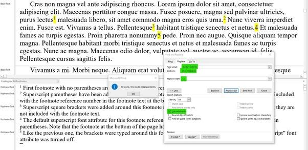 microsoft word change default footnote font