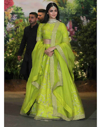 629181e7de02c3 A pastel Green Lehenga by designer Anita Dongre: If this is the colour of  your lehenga skirt, I cannot say this enough - subtle, subtle and subtle.