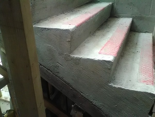 Side View Of The Concrete Stairs When Forms Were Removed, Before Rubbing  Concrete.