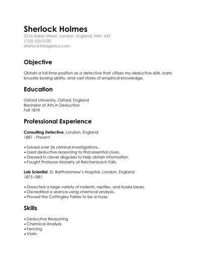 sherlock holmes resume