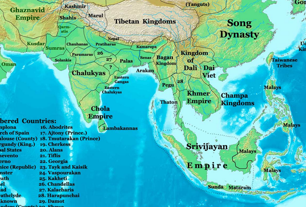 it is in this period that the cholas of south would begin their domination especially over south east asia they would control sri lanka and a lot of se