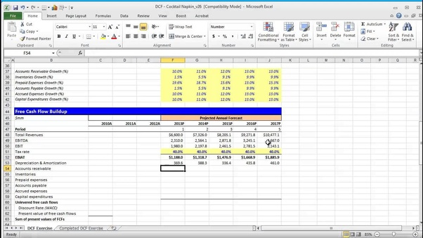 an example of a discounted cash flow dcf financial model template in an excel spreadsheet