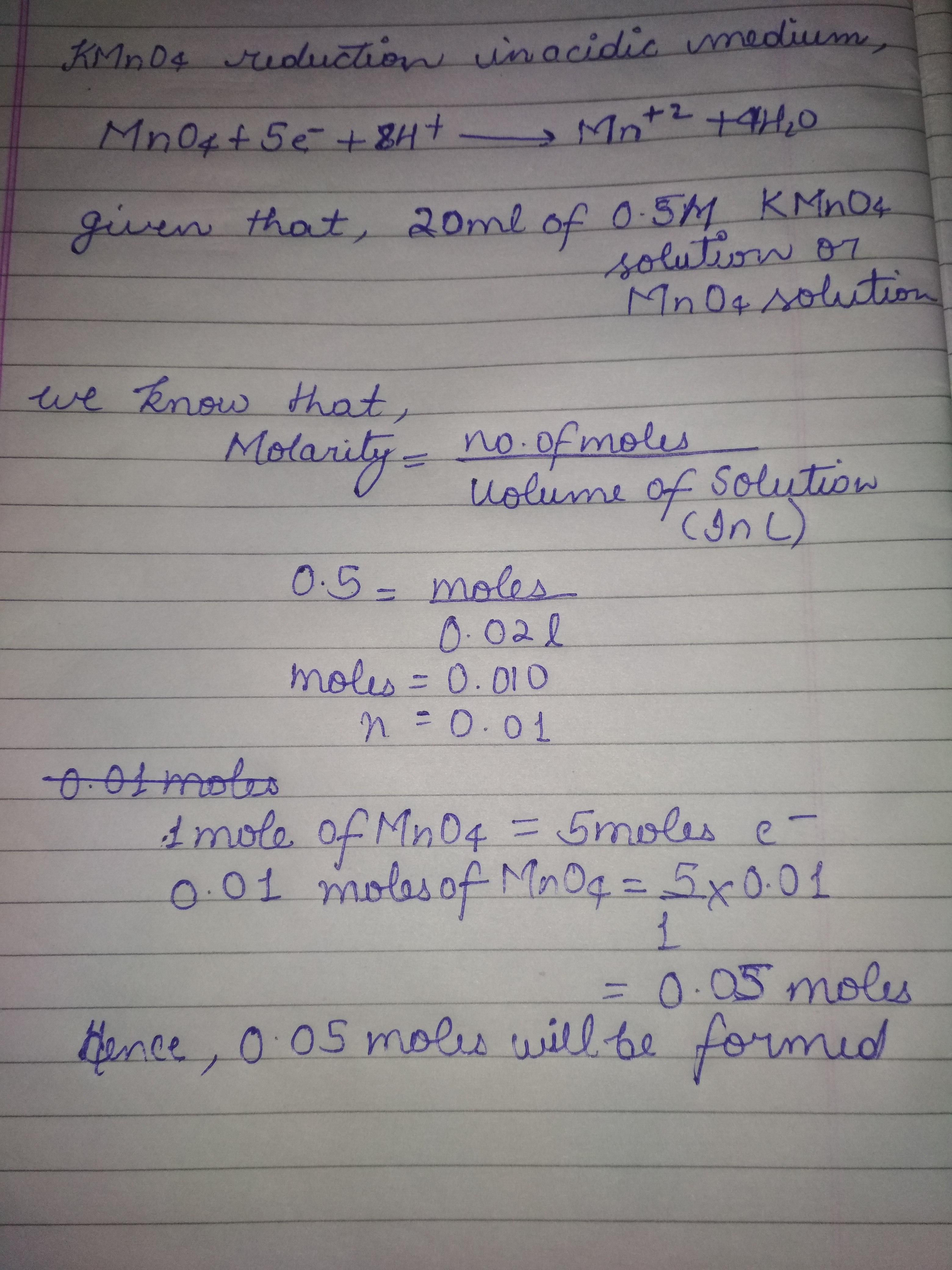 How many moles of electrons are needed for the reduction of 20 ml of
