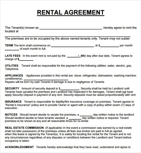 What Does A Real Rent Agreement Look Like Quora