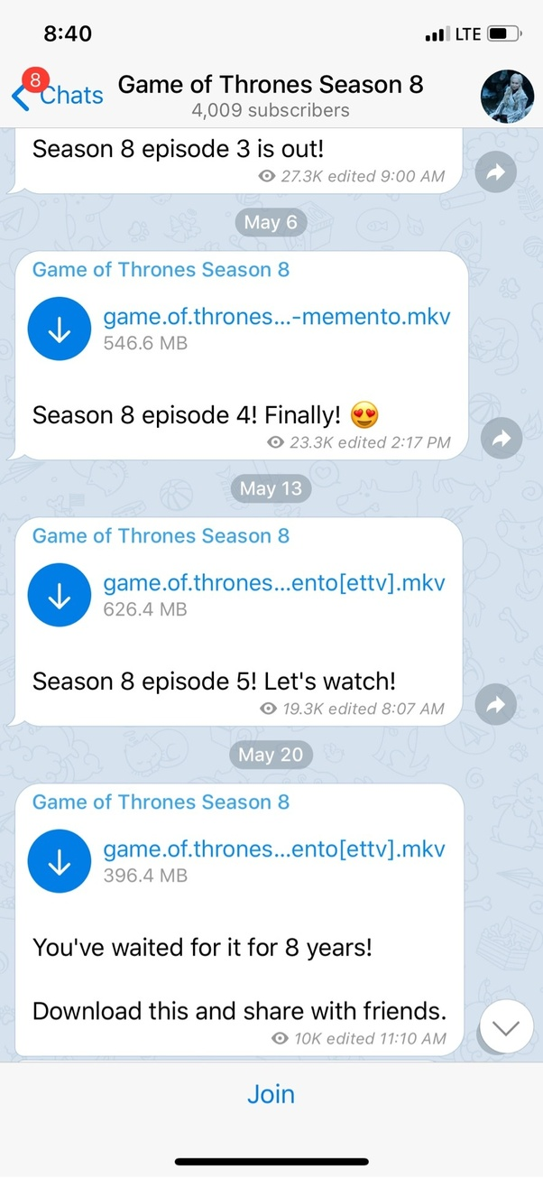 game of thrones season 8 episode 5 torrent memento