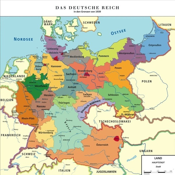 What was the territory of germany before and after world war ii quora this map shows the changes to germanys legal boundaries during the war years gumiabroncs Gallery