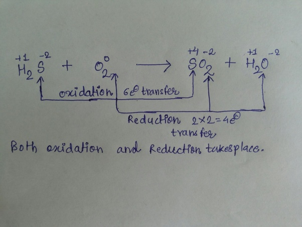 how h2s o2- so2 h2o is a redox reaction