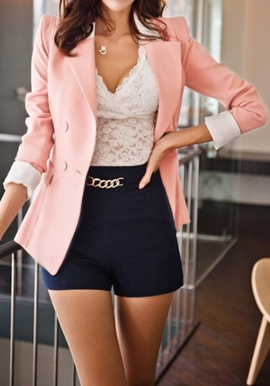 I Know The Colours Are All Mixed Up But A Light Coral Pink Pant Will Definitely Match Your Navy Blue Top Well
