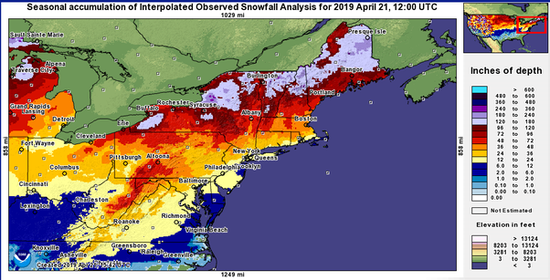 Why Has Snowfall In The Northeast Us Been So Low This Past Winter - Average-snowfall-us-map
