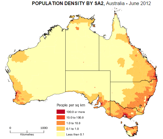 our population of 238 million is concentrated in our major cities 75 of australia has a density of less than 01 people per square kilometre 1 of our
