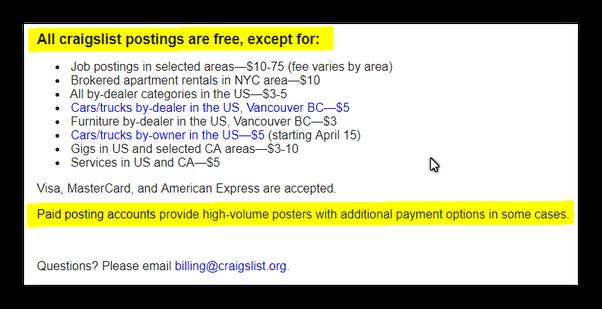Why is Craigslist charging $5 per post? - Quora