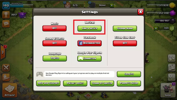 How to transfer a Clash of Clans account from an iPhone to