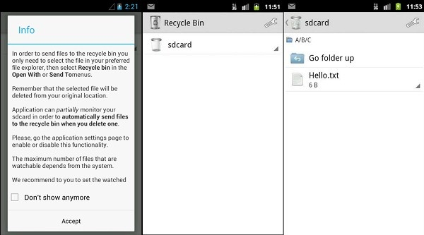 Does Android have a recycle bin or are deleted files permanently