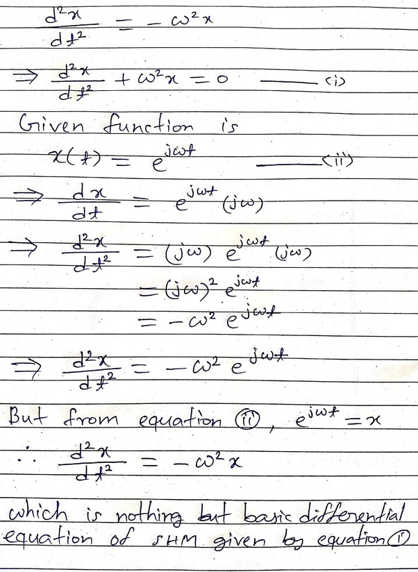 The motion of a body is given by y=e^(jwt)  How do you show that the