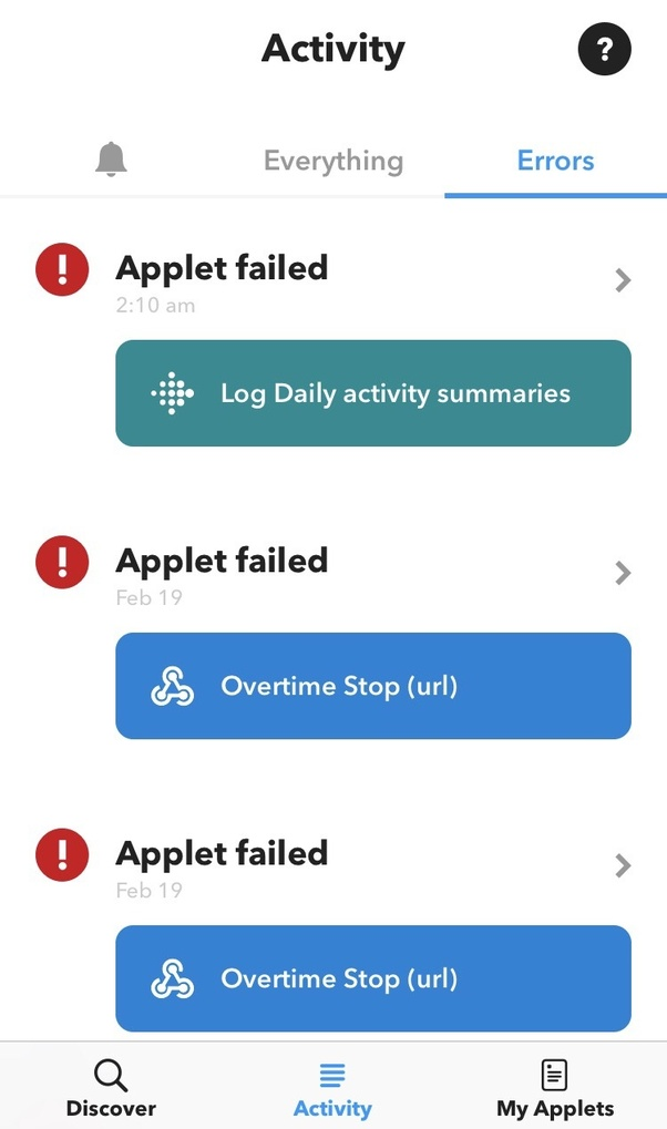Why do my IFTTT applets seem to run intermittently - working one day