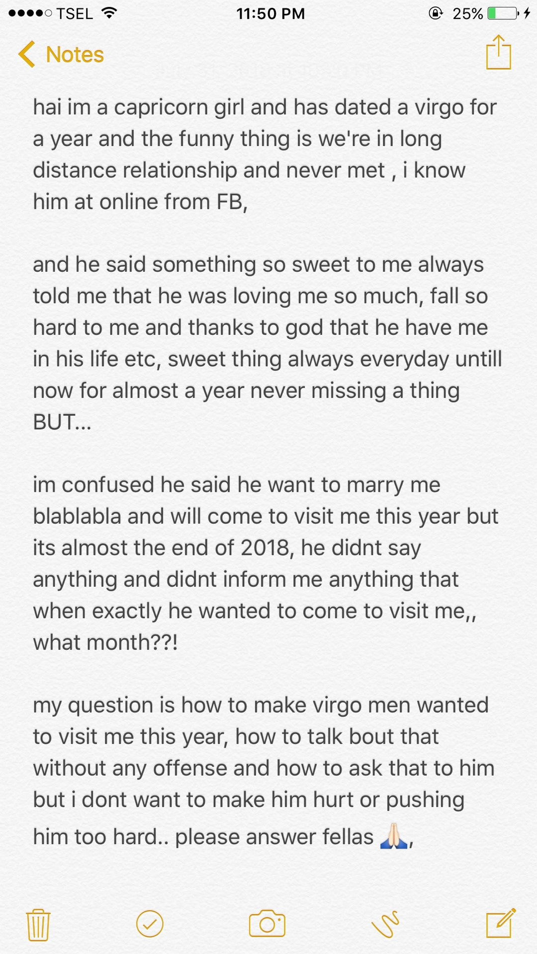 How to ask Virgo men to come to visit his LDR GF for the first time