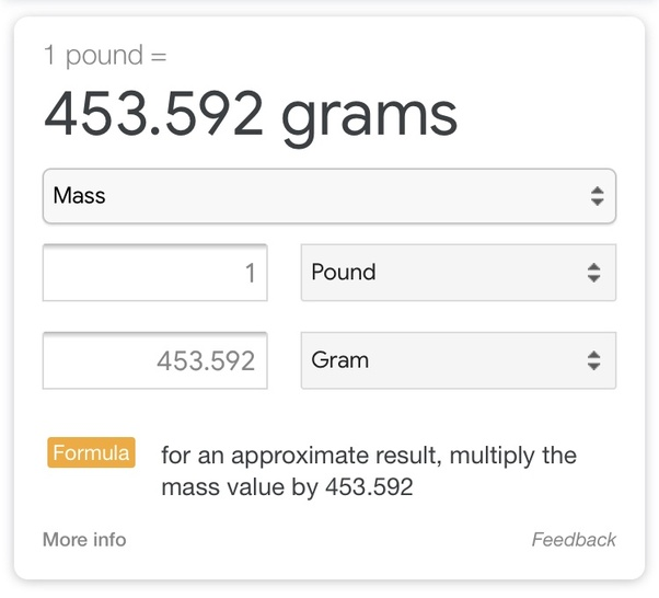 How Many Grams Are In 1 Pound Quora