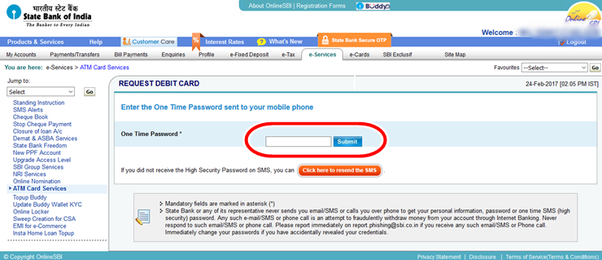 How to apply for an sbi atm card quora step 6 enter the otp received in your registered mobile number and click on submit spiritdancerdesigns Choice Image