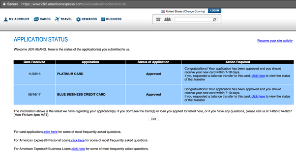 How to check the application status of an american express credit after clicking check application you should be able to see a list of application youve submitted recently with each of the application status and notes negle Gallery